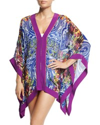 Etro Paisley Mixed Print Short Caftan Coverup Blue Multi