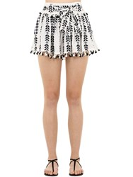 Dodo Bar Or Cotton Jacquard And Lace Skirt W Tassels Black White