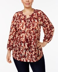 Style And Co Plus Size Printed Lace Up Peasant Top Only At Macy's Brocade Multi