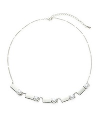Robert Rose Faux Pearl Rectangle Collar Necklace Silver