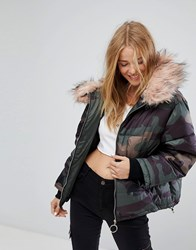 Pull And Bear Pullandbear Camo Puffer Jacket Green