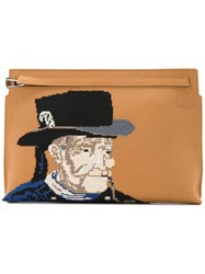 Loewe Fisherman Embroidered T Clutch Unisex Calf Leather Brown