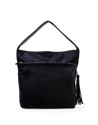 Big Buddha Jasmine Faux Leather And Calf Hair Shoulder Bag Black