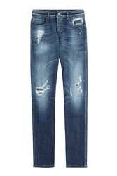 7 For All Mankind Seven For All Mankind Distressed Straight Leg Jeans Blue