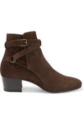 Saint Laurent Suede Ankle Boots Chocolate