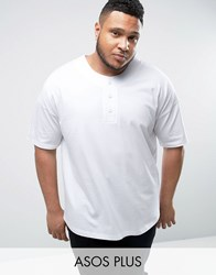Asos Plus Oversized T Shirt With Baseball Styling In White White