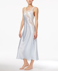 Oscar De La Renta Lace Trimmed Charmeuse Long Nightgown Blue