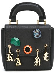 Christopher Kane Bonnie Stone Charm Shoulder Bag Black