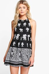 Boohoo Lottie Elephant Print Halterneck Sundress Black