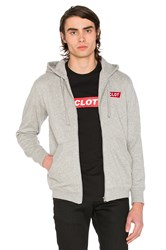 Clot Box Logo Zip Up Hoodie Gray