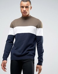 New Look Colour Block Jumper With Turtle Neck In Navy And Khaki Navy