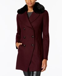 Inc International Concepts Faux Fur Trim Peacoat Created For Macy's Merlot