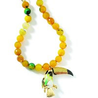 Misis Toucan Necklace With Yellow And Green Agate