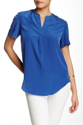 Zoa V Neck Placket Blouse Blue
