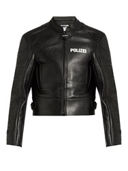 Vetements Polizei Print Panelled Leather Jacket Black
