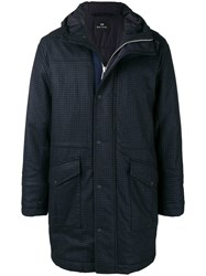 Paul Smith Ps By Checked Padded Coat Blue