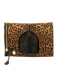 Tom Ford Alix Leopard Print Padlock And Zip Fold Over Bag Black Pattern