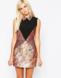 Sister Jane Venus Dress With Shirt Collar And Contrast Panelling Multi