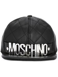Moschino Quilted Logo Plaque Cap Black