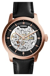 Fossil 'Townsman' Automatic Leather Strap Watch 40Mm Black Rose Gold