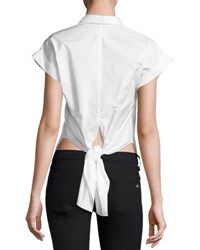 Rag And Bone Ara Short Sleeve Poplin Tie Back Blouse White