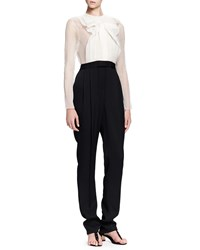 Lanvin Jumpsuit With Sheer Top And Full Length Legs Black