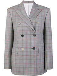 Calvin Klein 205W39nyc Checked Double Breasted Jacket Grey