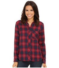 Kut From The Kloth Collin One Pocket Plaid Blouse Navy Red Women's Long Sleeve Button Up Multi