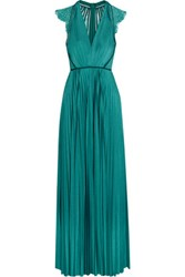 Catherine Deane Eloise Lace Paneled Plisse Satin Gown Teal