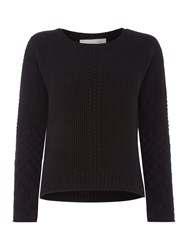 Oui Grid Knit Jumper Black