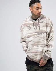Asos Oversized Hoodie In Washed Camo Camo Beige
