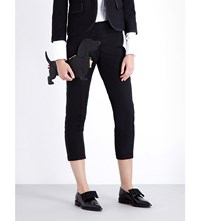 Thom Browne Skinny Cropped Wool Crepe Trousers Black