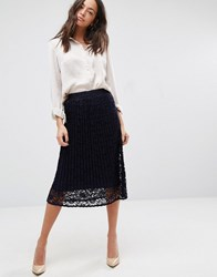 New Look Lace Pleated Midi Skirt Navy