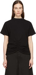 Carven Black Lace Up Ruched Detail T Shirt