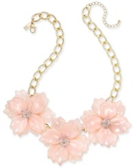 Inc International Concepts Gold Tone Imitation Large Flower Statement Necklace 19 3 Extender Created For Macy's Pink