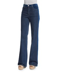 See By Chloe High Rise Velvet Trim Jeans Washed Indigo Women's