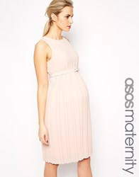 Asos Maternity Midi Skater Dress With Pleated Skirt And Belt Pink