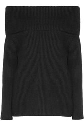 The Row Agneta Off Shoulder Ribbed Cashmere Sweater Black