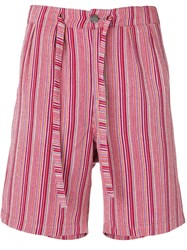 Paura Striped Shorts Red