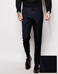Asos Slim Fit Tuxedo Trousers In Herringbone Stripe Navy