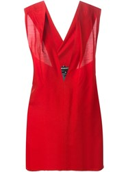 Ann Demeulemeester Plunging Neck Sleeveless Top Red