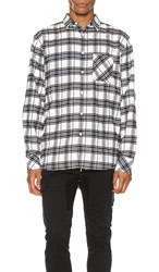 Zanerobe Work Flannel Long Sleeve Shirt In Black And White. Milk And Black