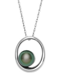 Macy's Cultured Tahitian Black Pearl 8Mm Circle Drop Pendant Necklace In Sterling Silver