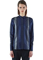 Ilaria Nistri Long Satin Striped Shirt Navy