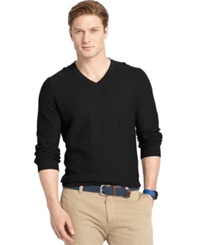 Izod Allover Links V Neck Fine Gauge Sweater Black