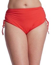 Michael Michael Kors Plus Ruched Hipster Swim Bottoms Coral