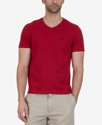 Nautica Men's Striped Slim Fit V Neck Cotton T Shirt Nautica Red