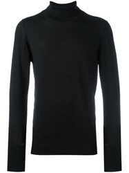 The Inoue Brothers Leather Trim Turtle Neck Jumper Black