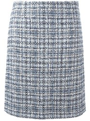 Lanvin Tweed Checked Skirt Blue