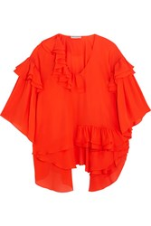 Emilio Pucci Ruffled Silk Chiffon Blouse Red